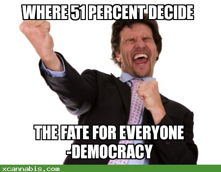 Democracy Where 51 percent decide the fate for everyone